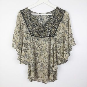 Zara Boho Mixed Print Batwing Sleeve Top Medium ▪️